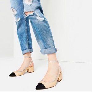 Zara Contrast Cap Top Block Heel Slingback 7